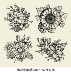 Flowers. Hand drawn sketch flower, floral pattern. Vector illustration