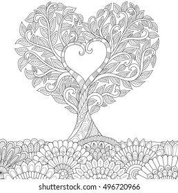 Flowers in heart shape on floral ground line art design for coloring book for adult, tattoo, T- Shirt graphic, cards and so on