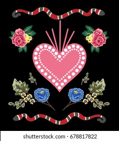 flowers heart and snake embroidery