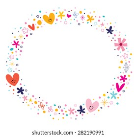 flowers and hearts frame