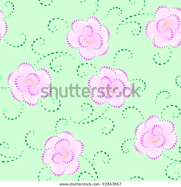Flowers Hearts Seamless Texture Stock Vector (Royalty Free) 92863867