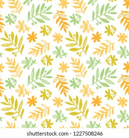 Flowers, herbs, leaves seamless pattern. Botanical herbal illustration. Floral abstract background.