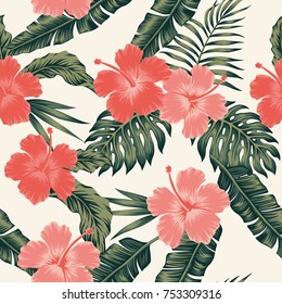 Flowers hibiscus abstract color tropical leaves seamless. Vector beach pattern wallpaper light background