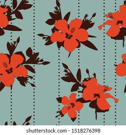 Flowers hibiscus in orange color and brown silhouette leaves. Summer Hawaii seamless print vector beach wallpaper on blue background. Cool tropical illustration. Sunny colorful stylish floral pattern