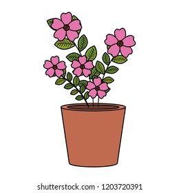 flowers houseplant in pot icon