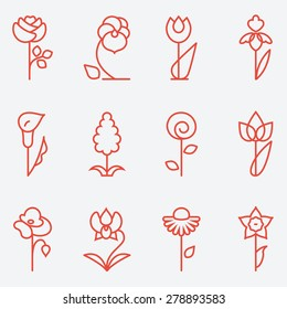 Flowers icon, flat design, thin line style