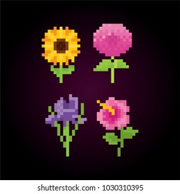 Flowers icon set. Pixel art. Old school computer graphic style. 8 bit video game. game element.
