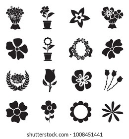 Flowers Icons. Black Flat Design. Vector Illustration.