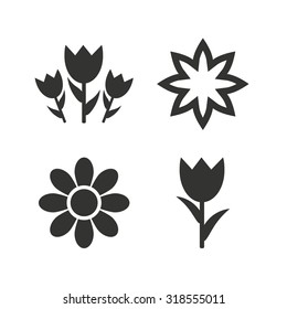 Flowers icons. Bouquet of roses symbol. Flower with petals and leaves. Flat icons on white. Vector