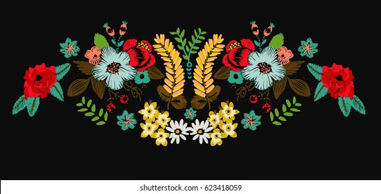 flowers illustration patch embroidery