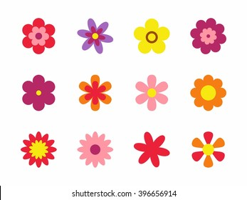 Flowers isolated on white background. Set of colorful floral icons. Flowers in flat dasing style. Vector Illustration
