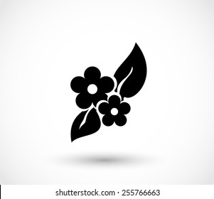 Flowers with leafs icon vector