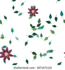 Flowers and leafs seamless ornamental vector pattern.