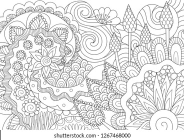Flowers and leaves for background, coloring book, coloring page,colouring picture and print on product. Vector illustration