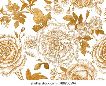 Flowers, leaves, branches and berries of roses, peonies and dog rose. Floral vintage seamless pattern. Gold and white. Victorian style. Vector illustration. Template for textiles, paper, wallpaper.