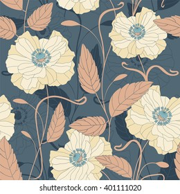 flowers and leaves on a blue background in seamless pattern