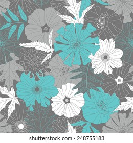 flowers and leaves on a grey background in seamless pattern