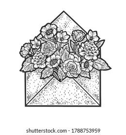 flowers in letter envelope sketch engraving vector illustration. T-shirt apparel print design. Scratch board imitation. Black and white hand drawn image.