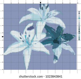 Flowers. Lilies. The scheme of cross-stitch. Elements for creativity and needlework.