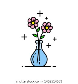 Flowers line icon. Flower bouquet symbol in glass vase. Vector illustration.