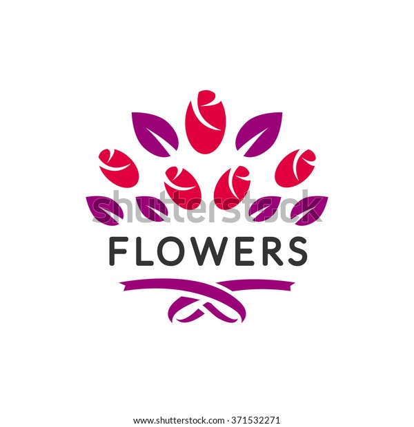 Flowers Logo Vector Flower Sign Florist Stock Vector