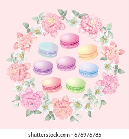 Flowers and macaroons. Wreath. Background for postcards. Vector illustration.