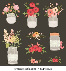 Flowers in mason jars. Hand drawn vector illustration. Poppy flowers, field and garden flowers. Vintage floral design elements for wedding, mothers day, birthday, invitations. Eps 10