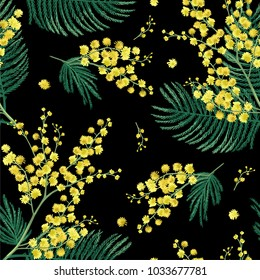 Flowers of mimosa on a black background. Seamless pattern.