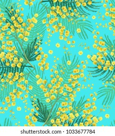 Flowers of mimosa on a blue background. Spring Seamless pattern.