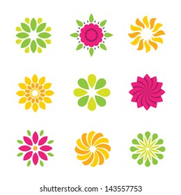 Flowers nature logo symbol and icons colorful