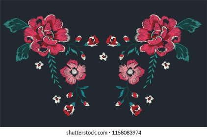 flowers neckline embroidery