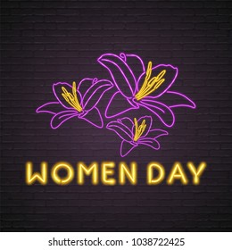 Flowers Neon Light Glowing Bright. Women's Day Light Sign
