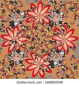 Flowers on beige, gray and orange colors. Gentle, tender floral background. Vector floral pattern in doodle style with flowers.