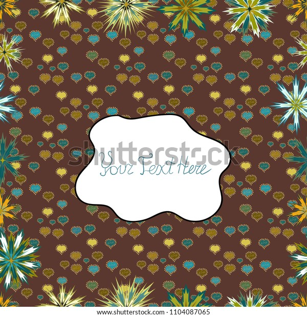 Flowers on brown, white and neutral colors. Vector illustration. Cute Floral pattern in the small flower.