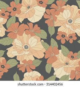 flowers on a dark background in seamless pattern
