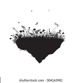 flowers on a flying rock, summer in the wonderland, shadow, vector