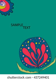 Flowers on a green background. Floral flyers or invitations. Vector.