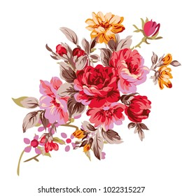 Flowers on a homogeneous background. Vector illustration