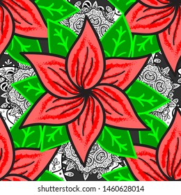 Flowers on pink, gray and green colors. Tropical flowers. Shirt seamless Background Pattern.