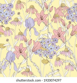 Flowers on a yellow background. Floral vector seamless pattern with lilies, dandelions, phlox and irises.