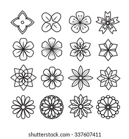Flowers ornament icon,vector set