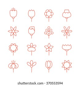 Flowers outline red vector icons set. Modern minimalistic design.