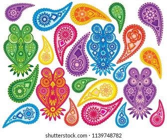 Flowers and Owls traditional paisley design pattern background isolated on white background vector illustration