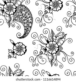 Flowers and paisley. Abstract linear drawing. Seamless pattern. Black on white background. For backgrounds, home textiles, women products