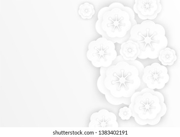 Flowers paper cut decorative background, vector illustration. Beautiful Sakura blossom paper art  on white grey background. Sweet floral greeting card concept.