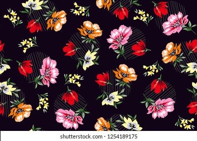flowers pattern Beautiful and colorful design with striped polka elements for textile pattern