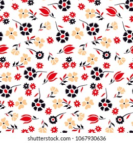 Flowers pattern Beautiful Small Daisies  for textile print,fabric design,seamless flower
