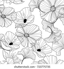 flowers pattern.  line illustrations. pencil drawing