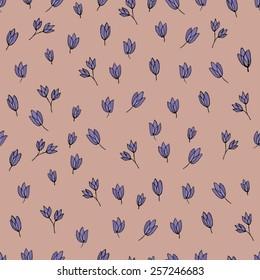 Flowers pattern - purple on pink