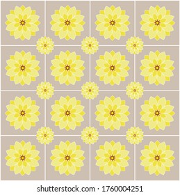flowers pattern in yellow color on sepia color background